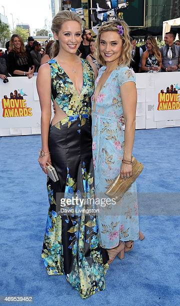 Actresses/sisters Greer Grammer and Spencer Grammer attend the 2015 MTV Movie Awards at the Nokia Theatre LA Live on April 12 2015 in Los Angeles...