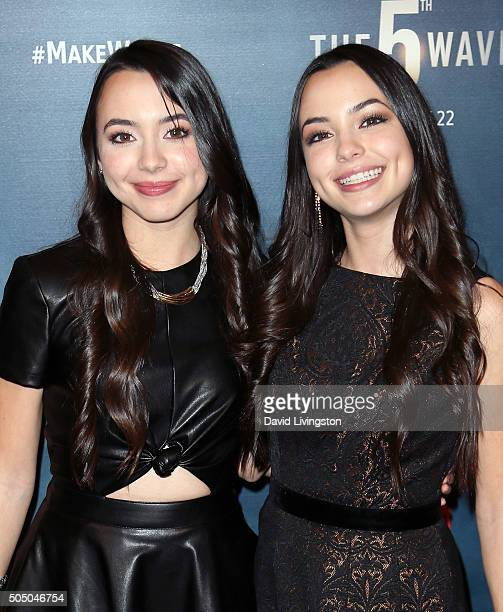 Actresses/twins Veronica Merrell and Vanessa Merrell attend the AwesomenessTV special fan screening of The 5th Wave at Pacific Theatre at The Grove...