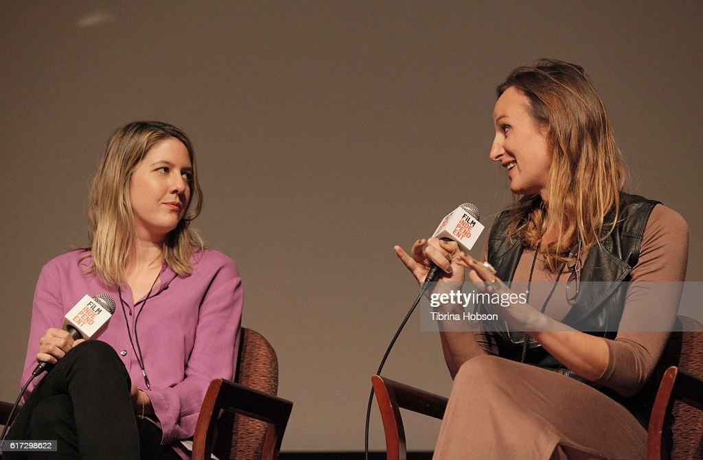 Actresses/writers Laura Zak (L) and Jen Richards speak onstage during the 'Her Story: A Web Series Case Study' portion of the Film Independent Forum at the DGA Theater on October 22, 2016 in Los Angeles, California.