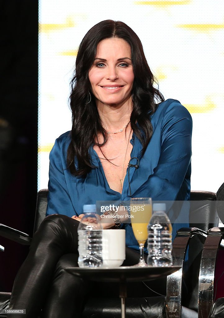 Actress/Executive Producer Courteney Cox of 'Cougar Town' speaks onstage during Turner Broadcasting's 2013 TCA Winter Tour at Langham Hotel on January 4, 2013 in Pasadena, California. 23128_001_CP_0718.JPG