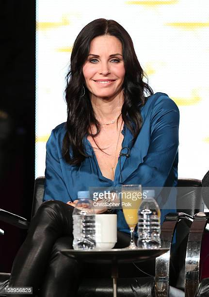 Actress/Executive Producer Courteney Cox of Cougar Town speaks onstage during Turner Broadcasting's 2013 TCA Winter Tour at Langham Hotel on January...