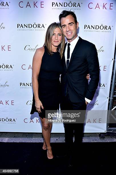 Actress/executive producer Jennifer Aniston and actor Justin Theroux attend the 'Cake' cocktail reception presented by PANDORA Jewelry at West Bar on...