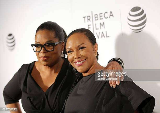 """Actress/executive producer Oprah Winfrey and actress Lynn Whitfield attend the Tribeca Tune In: """"Greenleaf"""" Screening at John Zuccotti Theater at..."""