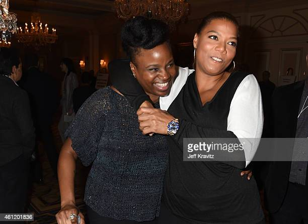 "Actress/Executive Producer Queen Latifah and director/writer Dee Rees walk through the lobby after the ""Bessie"" panel as part of the 2015 HBO Winter..."