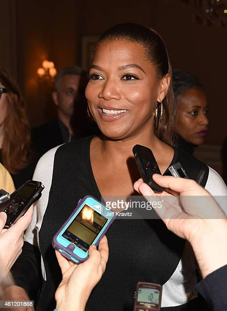 "Actress/Executive Producer Queen Latifah answers questions from the media after the ""Bessie"" panel as part of the 2015 HBO Winter Television Critics..."