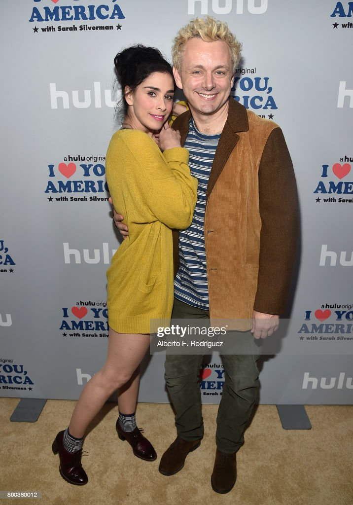 Actress/executive producer Sarah Silverman and actor Michael Sheen attend a photo op for Hulu's 'I Love You America' with Sarah Silverman at Chateau Marmont on October 11, 2017 in Los Angeles, California.