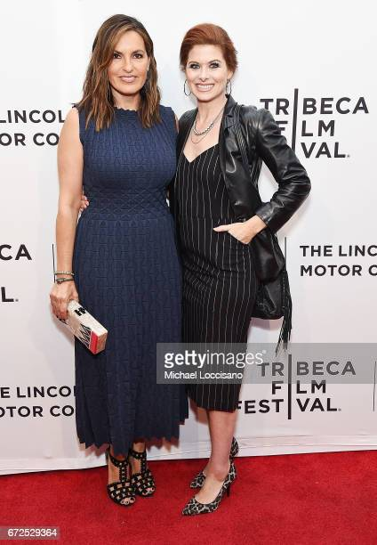 Actress/Film Producer Mariska Hargitay and actress Debra Messing attend the HBO Documentary screening of I Am Evidence at SVA Theatre on April 24...