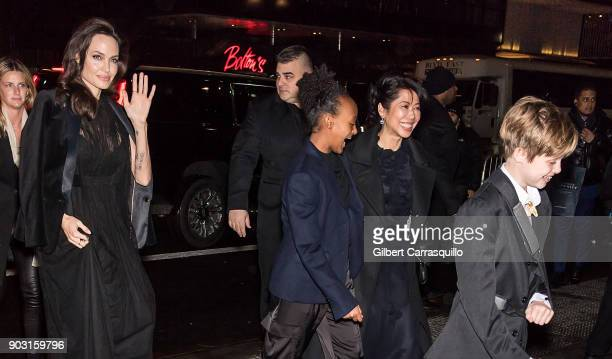 Actress/filmmaker Angelina Jolie Zahara JoliePitt humanrights activist Loung Ung and Shiloh JoliePitt are seen arriving at the 2018 National Board of...