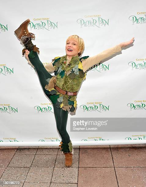Actress/former gymnast Cathy Rigby poses for a photo as Peter Pan for the Garden of Dreams Foundation at the Plaza at Madison Square Garden on...