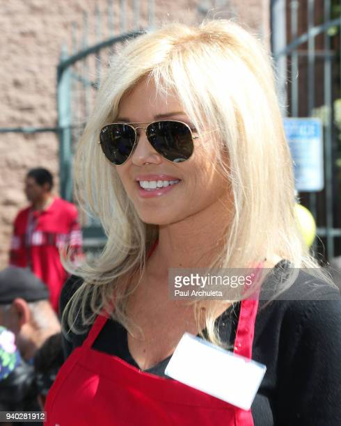 Actress/former Playboy playmate Donna D'Errico attends the Los Angeles Mission Easter Charity event at Los Angeles Mission on March 30 2018 in Los...