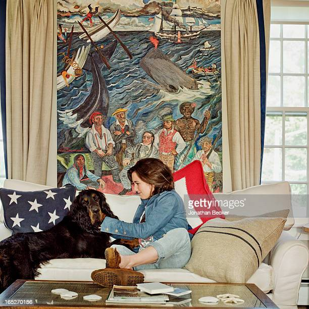 Actress/granddaughter of Robert F. Kennedy, Kathleen Kick Kennedy is photographed with Gordon setter, Ronan for Town & Country Magazine on September...