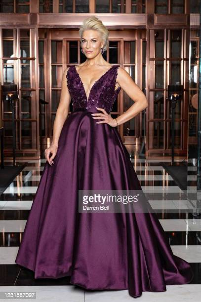 Actress Hannah Waddingham poses for the 2021 Critics Choice Awards on March 07, 2021 at the Rosewood Hotel in London, United Kingdom.