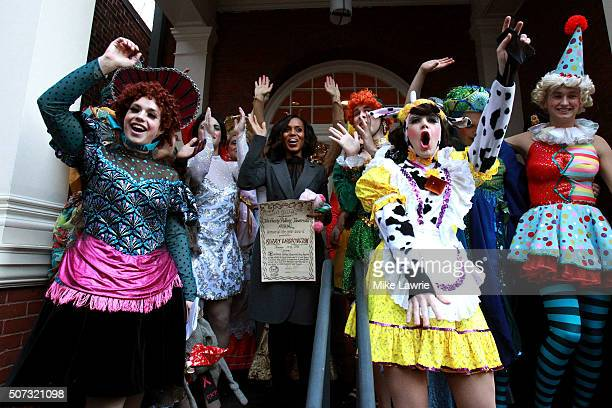 Actress/honoree Kerry Washington and the Hast Pudding Theatricals attend the Hasty Pudding Theatricals 2016 Woman of the Year Award parade on the...