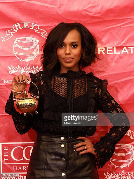 Actress/honoree Kerry Washington is presented with the Pudding Pot during the Hasty Pudding Theatricals 2016 Woman of the Year Award parade on the...
