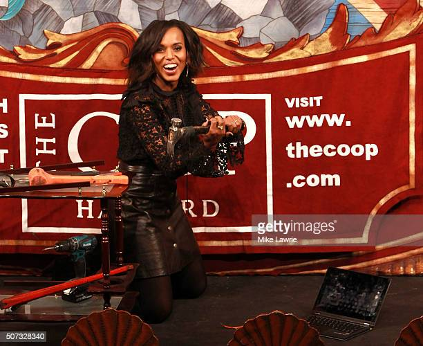 Actress/honoree Kerry Washington performs during the Hasty Pudding Theatricals 2016 Woman of the Year Award roast in Farkas Hall at Harvard...