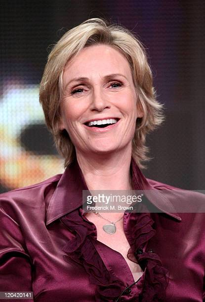 Actress/Host Jane Lynch speaks onstage at '63rd Primetime Emmy Awards' panel during the FOX portion of the 2011 Summer TCA Tour at the Beverly Hilton...