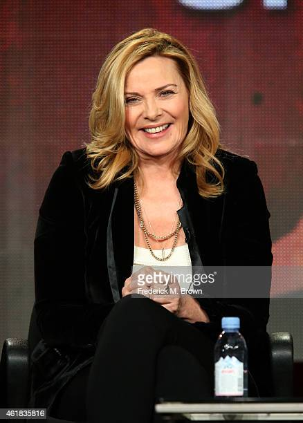 Actress/host Kim Cattrall speaks onstage during the 'SHAKESPEARE UNCOVERED' panel discussion at the PBS Network portion of the Television Critics...