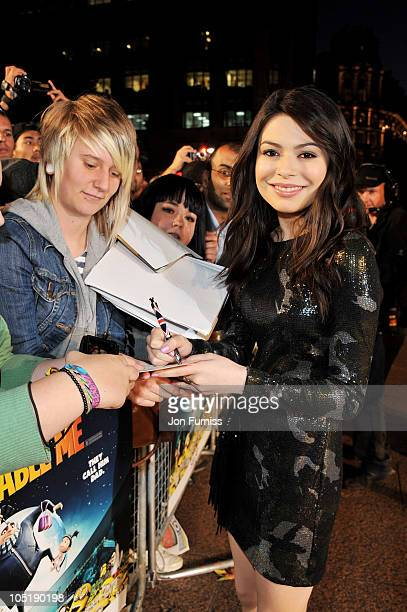 ActressMiranda Cosgrove attends the 'Despicable Me' European premiere at Empire Leicester Square on October 11 2010 in London England