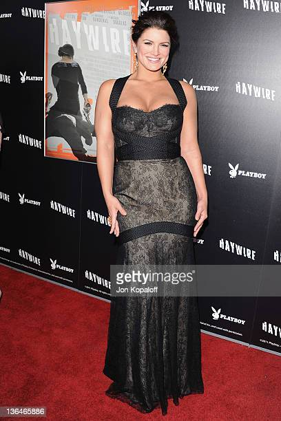 Actress/mixed martial artist Gina Carano arrives at the Los Angeles Premiere Haywire at Directors Guild Of America on January 5 2012 in Los Angeles...