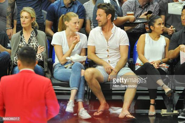 Actress/model Alyssa Sutherland attends a basketball game between the Los Angeles Clippers and the Utah Jazz at Staples Center on October 24 2017 in...