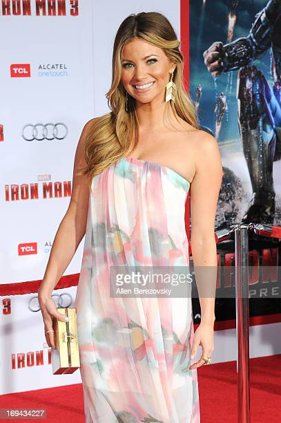 Actress/model Amber Lancaster arrives at the Iron Man 3 Los Angeles Premiere at the El Capitan Theatre on April 24 2013 in Hollywood California