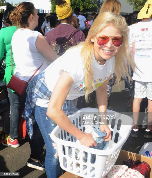 Actress/model Anne McDaniels participates in the 6th Annual Martin Luther King Jr Day Clothing Collection And Community Breakfast held on January 15...