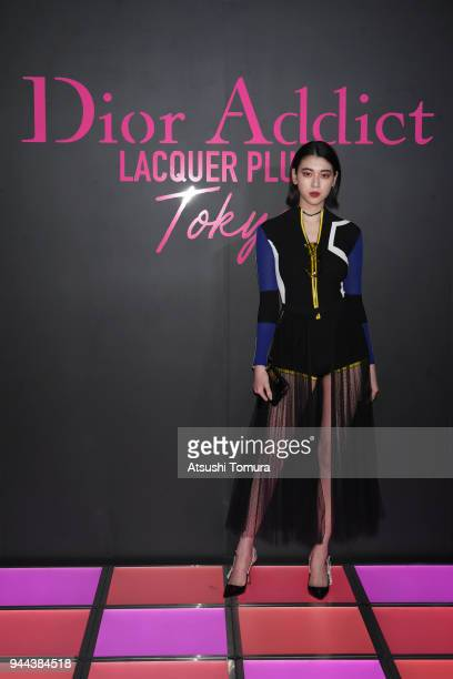 Actress/Model Ayaka Miyoshi attends the Dior Addict Lacquer Plump Party at 1 OAK on April 10 2018 in Tokyo Japan
