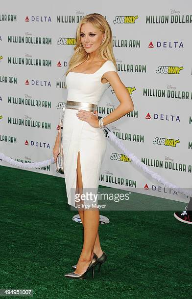 Actress/model Bar Paly arrives at the Los Angeles premiere of 'Million Dollar Arm' at the El Capitan Theatre on May 6 2014 in Hollywood California