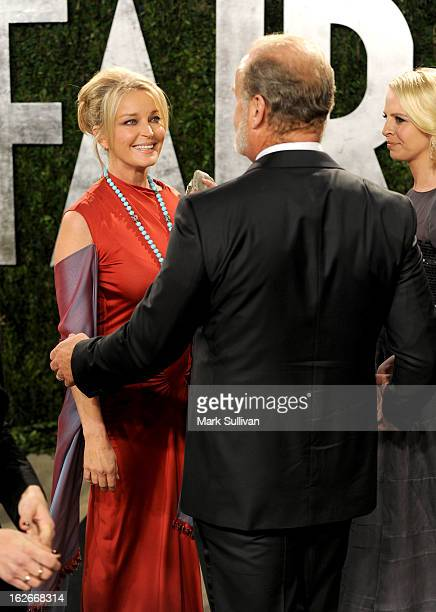 Actress/model Bo Derek actor Kelsey Grammer and Kayte Walsh arrive at the 2013 Vanity Fair Oscar Party at Sunset Tower on February 24 2013 in West...