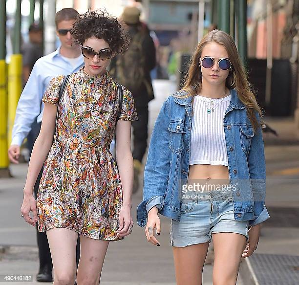 Actress/model Cara Delevingne and musician Annie Clark St Vincent are seen in Soho on September 28 2015 in New York City