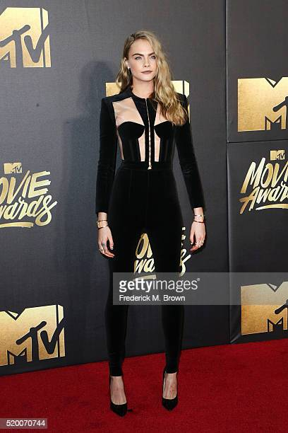 Actress/model Cara Delevingne attends the 2016 MTV Movie Awards at Warner Bros Studios on April 9 2016 in Burbank California MTV Movie Awards airs...
