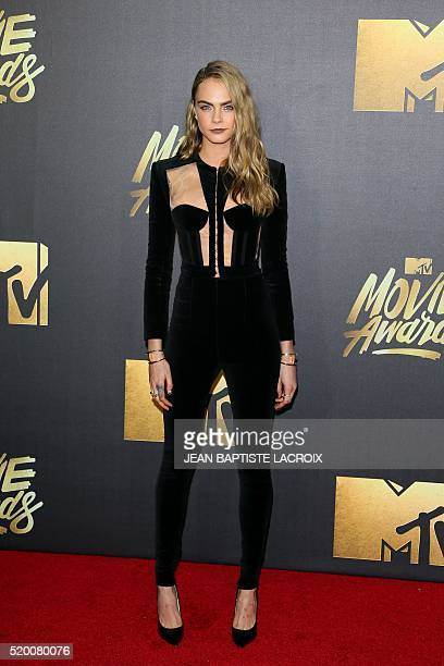 Actress/model Cara Delevingne attends the 2016 MTV Movie Awards in Burbank California on April 9 2016 LACROIX