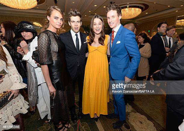 Actress/model Cara Delevingne in Mulberry musician James Righton actors Keira Knightley and Eddie Redmayne attend the BAFTA Los Angeles Tea Party at...