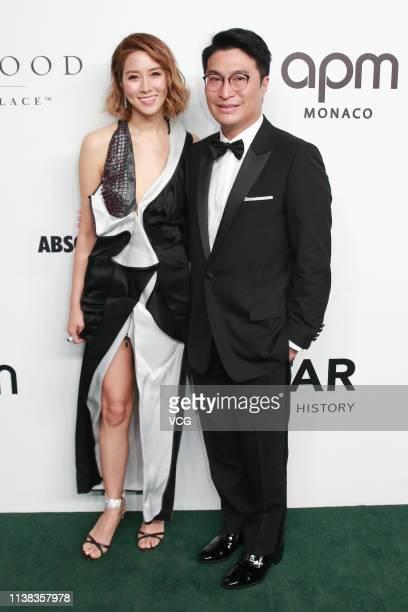 Actress/model Cathy Tsui and his husband businessman Martin Lee Kashing attend the amfAR Gala Hong Kong 2019 at the Rosewood Hong Kong on March 25...