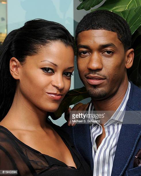Actress/Model Claudia Jordan and Hip Hop Artist Fonzworth Bentley attend The Claudia Jordan Show at Foxxhole Studios on July 14 2008 in Los Angeles...