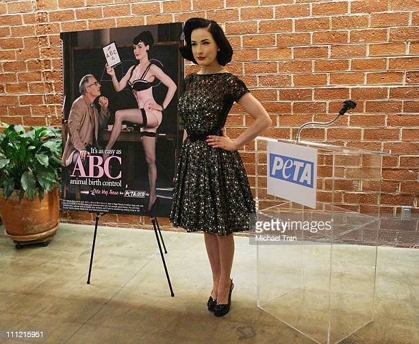 Actress/model Dita Von Teese reveals a new campaign for PETA at the Los Angeles PETA office on September 23 2007 in Los Angeles California