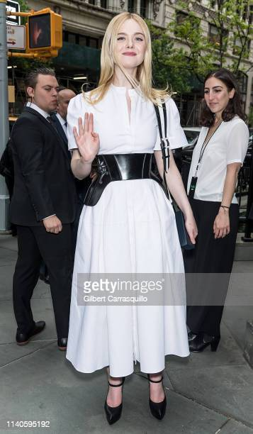 Actress/model Elle Fanning is seen leaving the Hulu '19 Brunch at Scarpetta on May 01 2019 in New York City