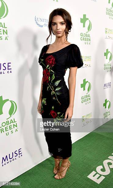 Actress/model Emily Ratajkowski attends Global Green USA's 13th annual preOscar party at Mr C Beverly Hills on February 24 2016 in Los Angeles...