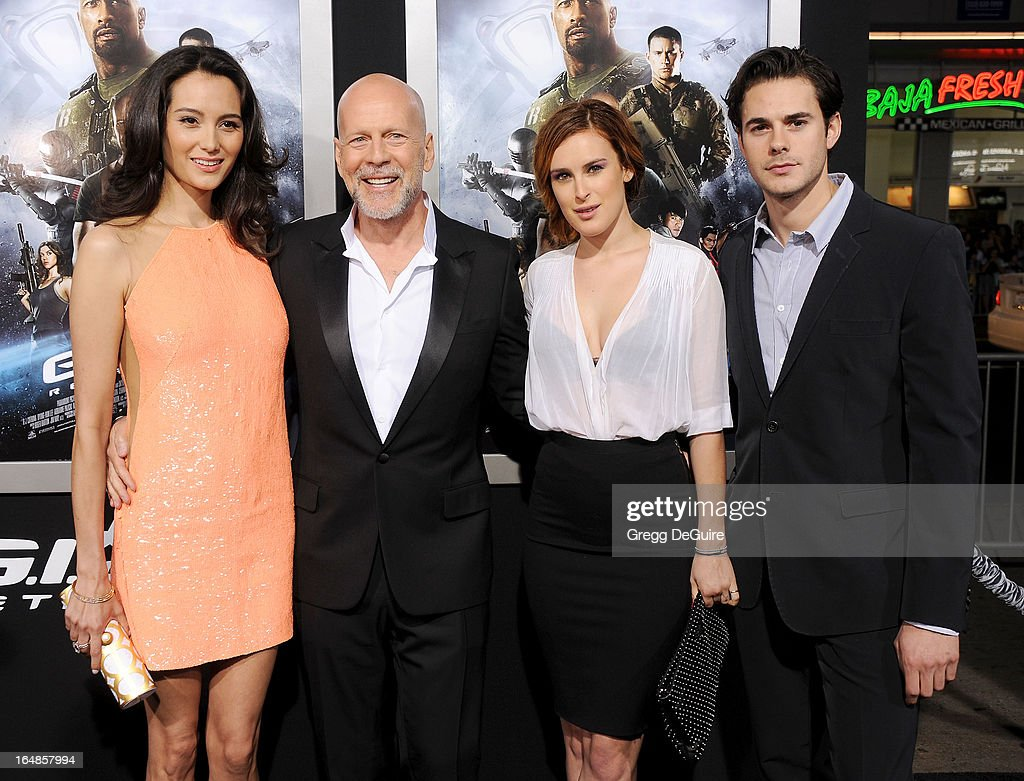 Actress/model Emma Heming Willis, actor Bruce Willis, actress Rumer Willis and Jayson Blair arrive at the 'G.I. Joe: Retaliation' Los Angeles premiere at TCL Chinese Theatre on March 28, 2013 in Hollywood, California.