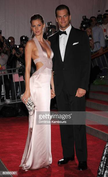 Actress/model Gisele Bundchen and athlete Tom Brady attend the Metropolitan Museum of Art Costume Institute Gala 'Superheroes Fashion And Fantasy' at...