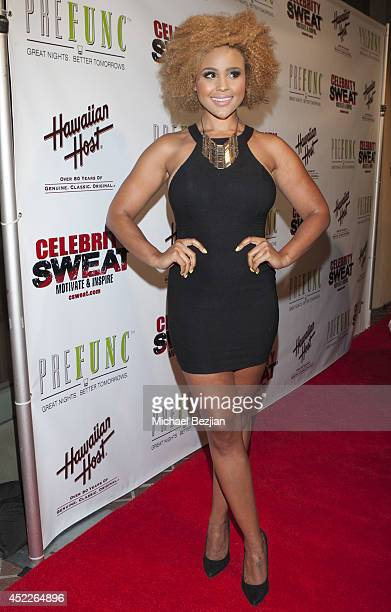 Actress/model Hayley Marie Norman attends PREFUNC at The Celebrity Sweat VIP Party at The Palm on July 16 2014 in Los Angeles California