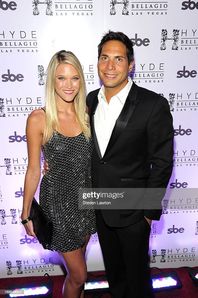 Actress/model Joanna Krupa (L) and film producer Joe Francis arrive at Scott Disick's 30th birthday bash at Hyde Bellagio at the Bellagio on May 26, 2013 in Las Vegas, Nevada.