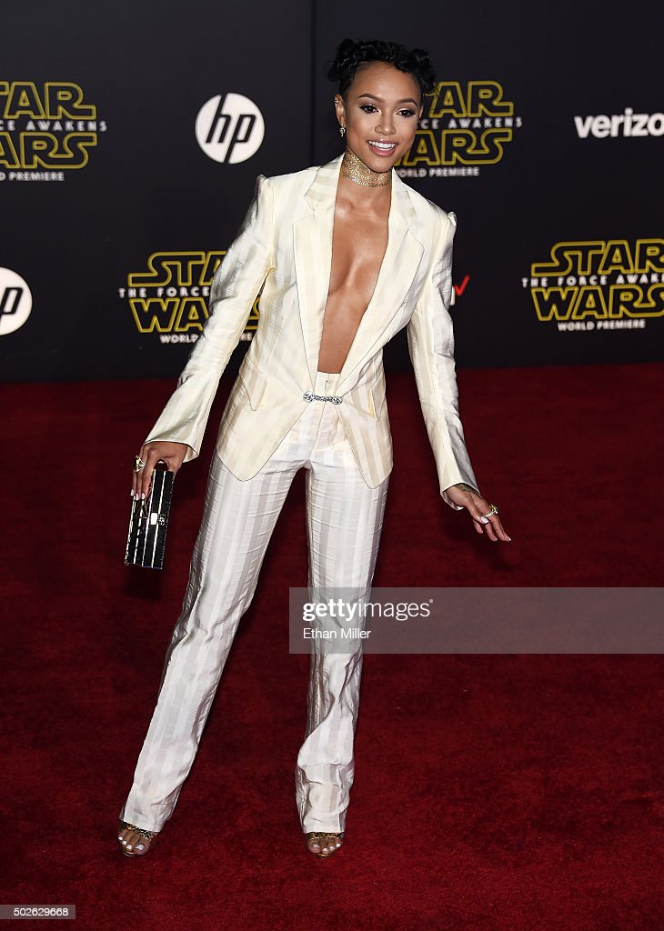 Actress/model Karrueche Tran attends the premiere of Walt Disney Pictures and Lucasfilm's 'Star Wars: The Force Awakens' at the Dolby Theatre on December 14, 2015 in Hollywood, California.