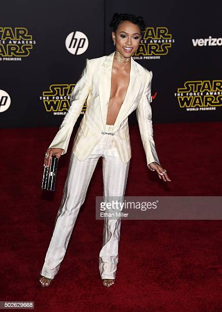 Actress/model Karrueche Tran attends the premiere of Walt Disney Pictures and Lucasfilm's Star Wars The Force Awakens at the Dolby Theatre on...