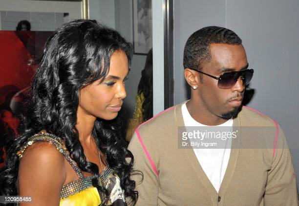 Actress/model Kim Porter and rapper/actor Diddy attend the opening night for The Rock N Roll Of Hip Hop Photo Exhibit at The Celebrity Vault on June...