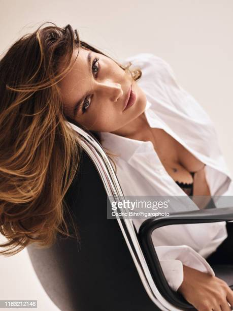 Actress/model Laetitia Casta is photographed for Madame Figaro on September 13, 2019 in Paris, France. Shirts by IKKS, bra by Etam, personal...