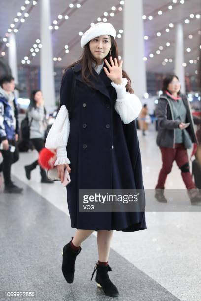 Actress/model Lin Chiling is seen at Beijing Capital International Airport on November 19 2018 in Beijing China