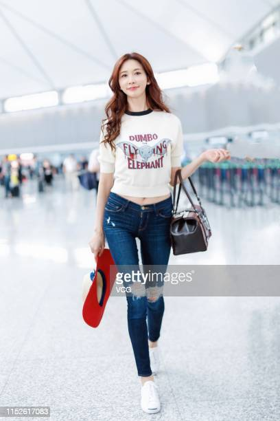 Actress/model Lin Chiling is seen at Shanghai Hongqiao International Airport on May 29 2019 in Shanghai China