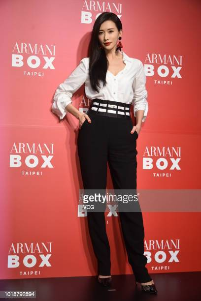 Actress/model Lin Chi-ling promotes Armani Box pop-up store on August 14, 2018 in Taipei, Taiwan of China.