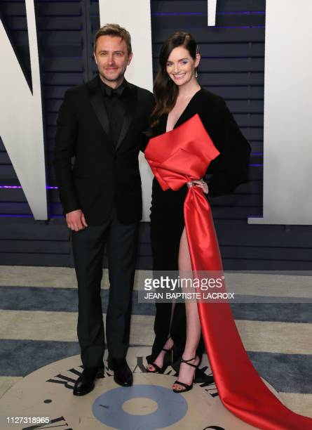Actress/model Lydia Hearst and husband Chris Hardwick attend the 2019 Vanity Fair Oscar Party following the 91st Academy Awards at The Wallis...